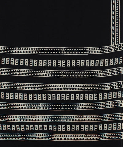 Black Handblock Printed Handloom Cotton Saree