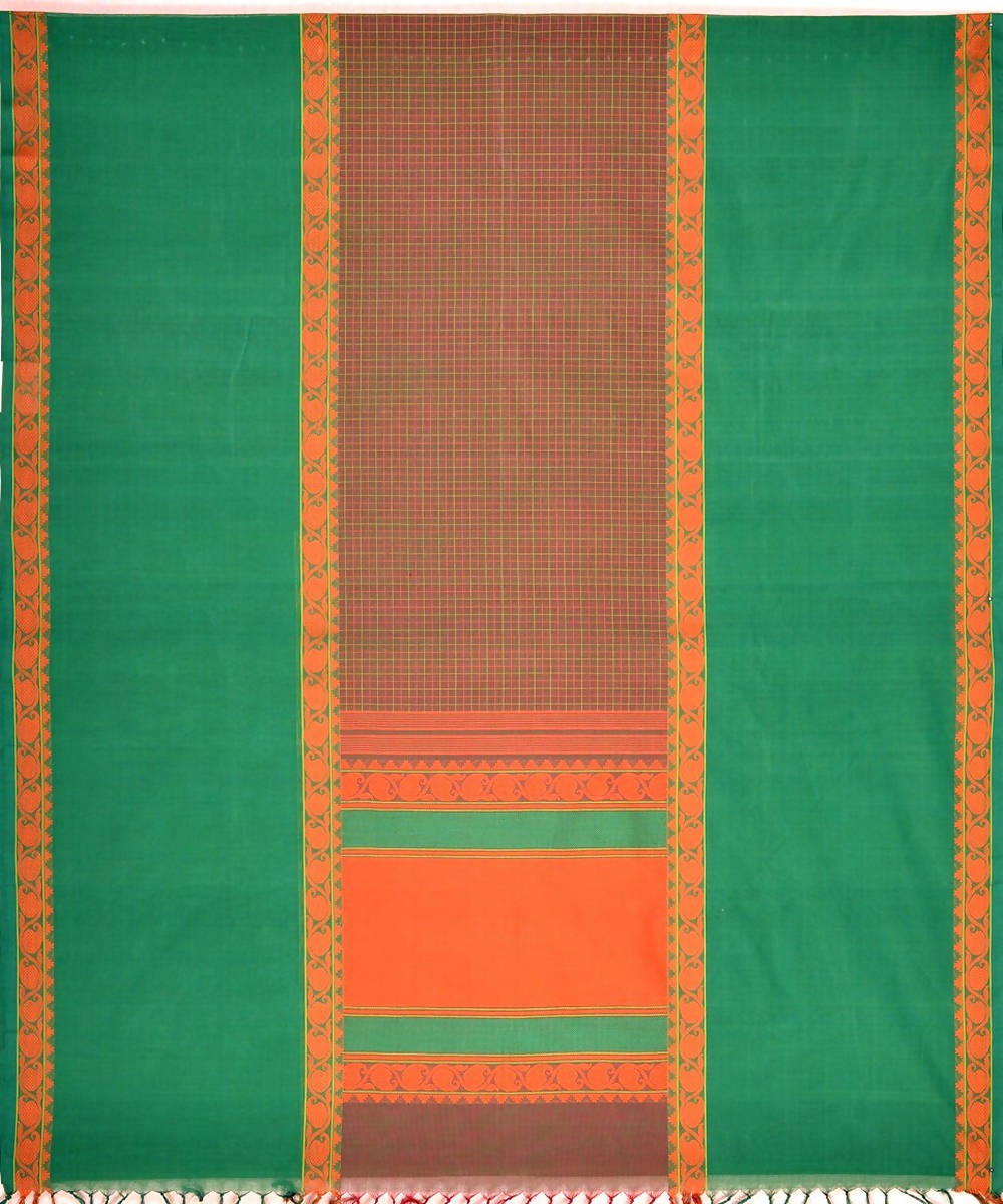 Mubbhagam Handloom Brown green Kanchi Cotton Saree
