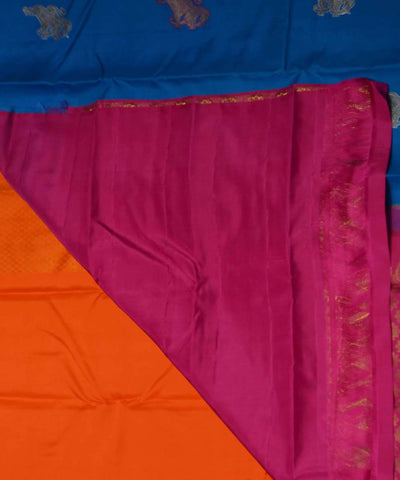 Royal Blue Pink Handwoven Dharmavaram Silk Saree