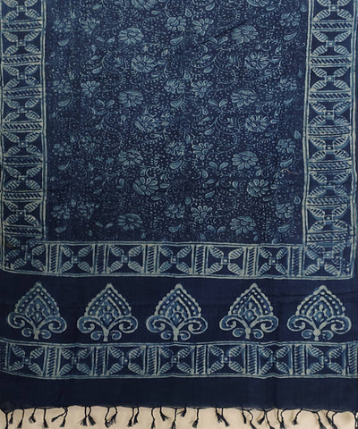 Indigo white black Daabu Handblock Print on Handloom Cotton Stole
