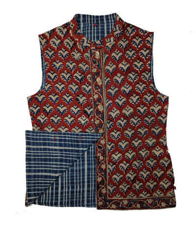 Blue and maroon hand block print cotton reversible jacket