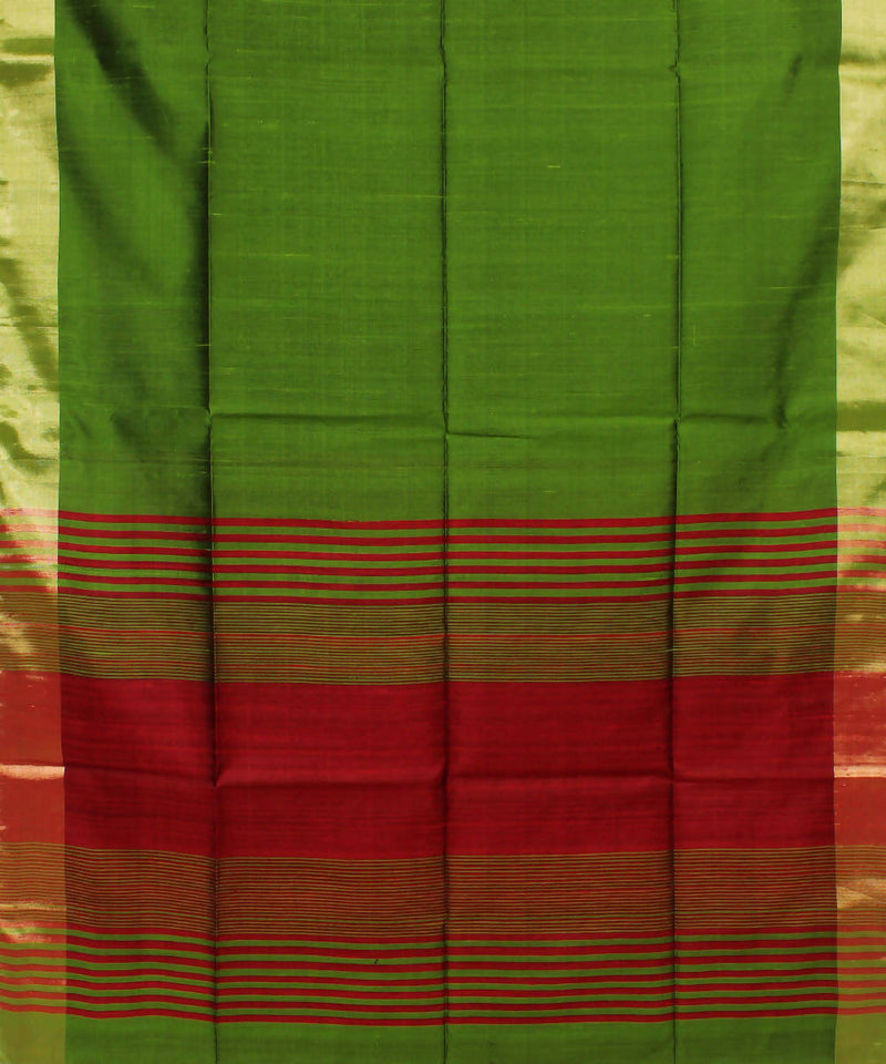 Parrot Green Red Khadi Handloom Silk Saree