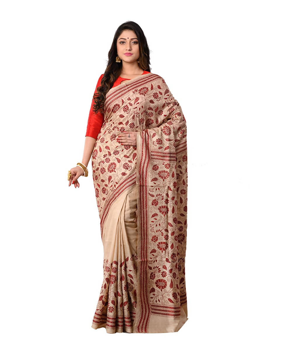 Bengal Beige Brown Kantha Stitch Saree