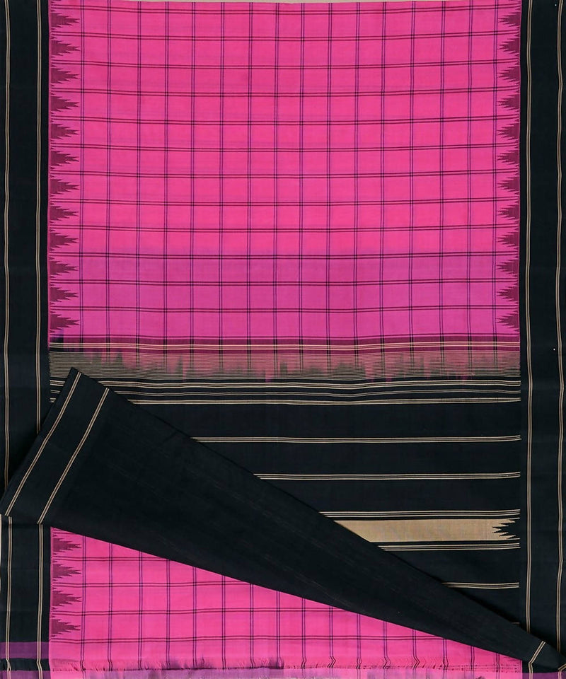 Pink checks handloom kanchi cotton silk saree black border