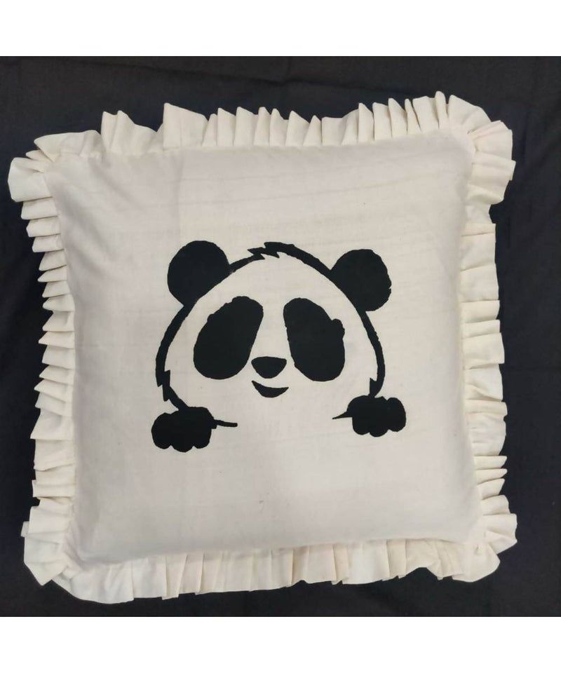 Offwhite handwoven panda motif cotton cushion cover