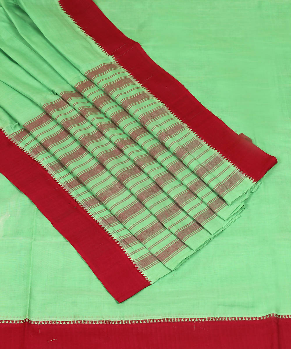 Pista Green Handloom Mangalagiri Cotton Saree
