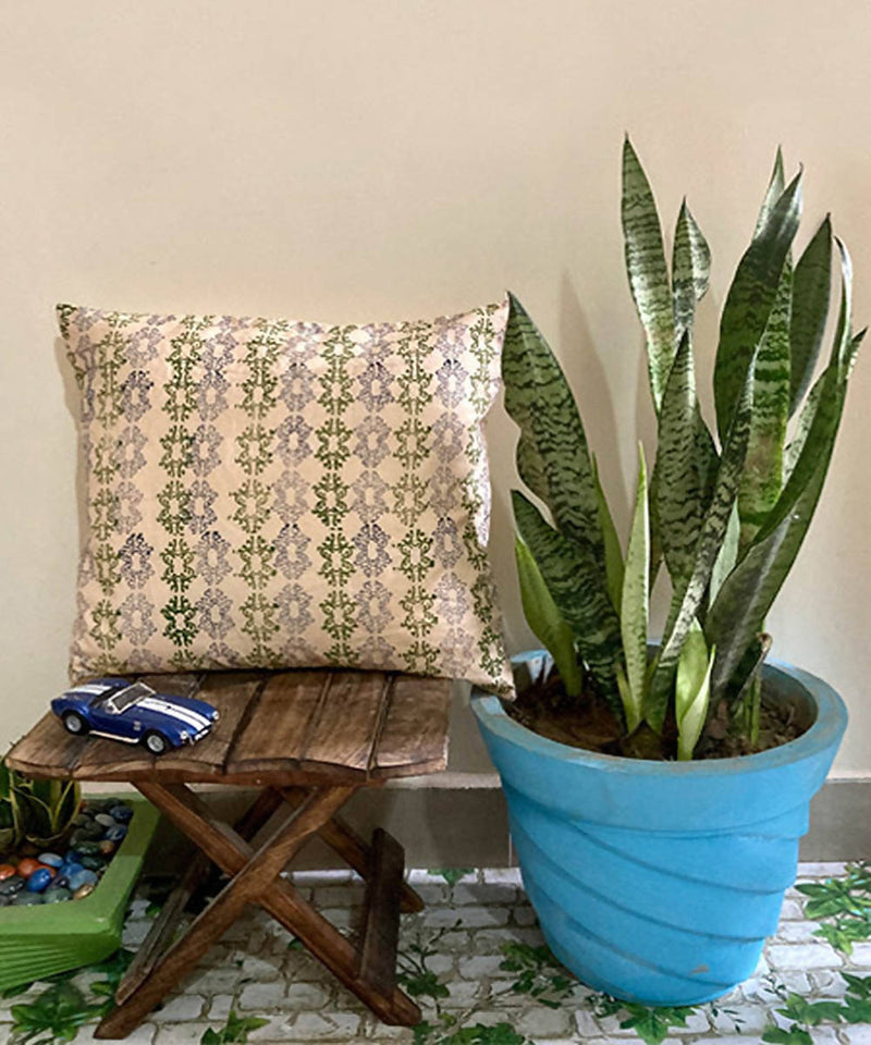 Off white handblock print cushion cover