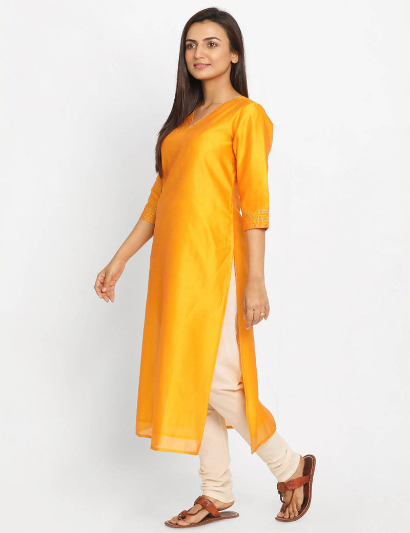 Yellow Orange Chanderi Sico Handwoven Kurta