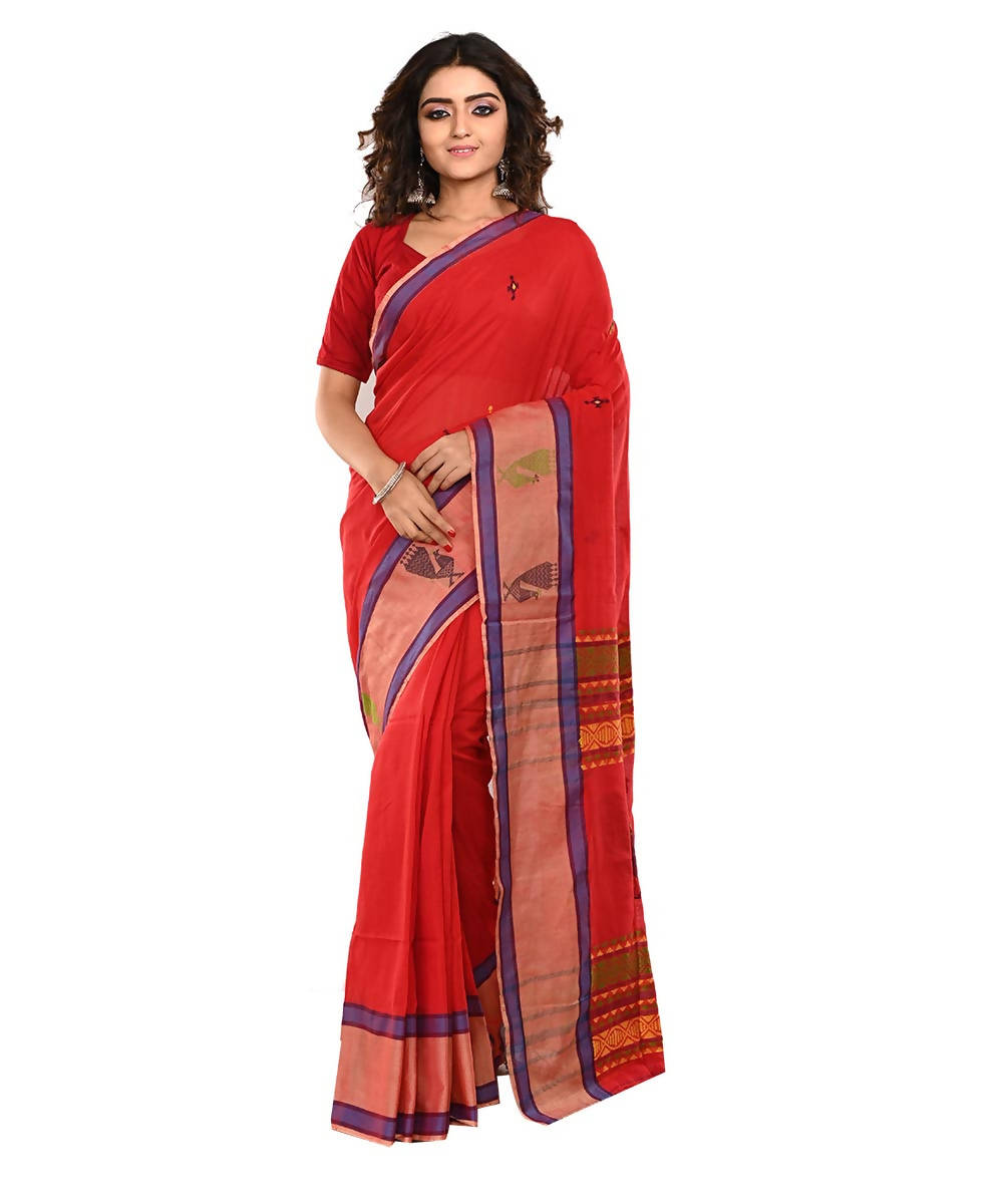 Red Orange Bengal Handloom Cotton Saree