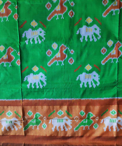 Green and brown handloom pochampally ikat silk saree