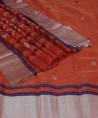 Handloom Rust Brown Bengal Cotton Saree