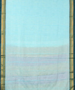 Light blue ilkal handwoven chikki paras border saree