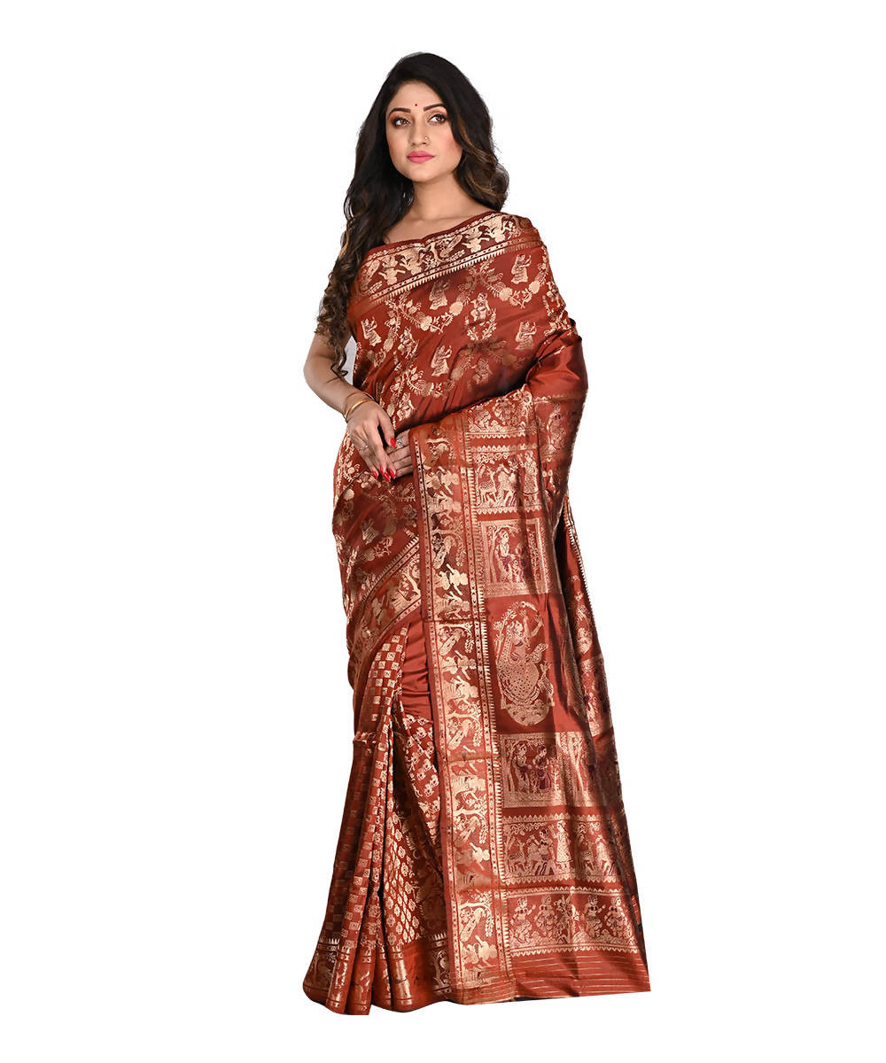 Bengal Handloom Baluchari Rust Silk Saree