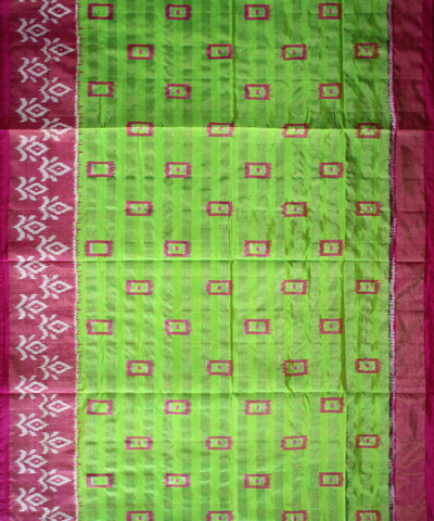 Parrot Green and Pink Handloom Ikat Rajkot Silk Saree