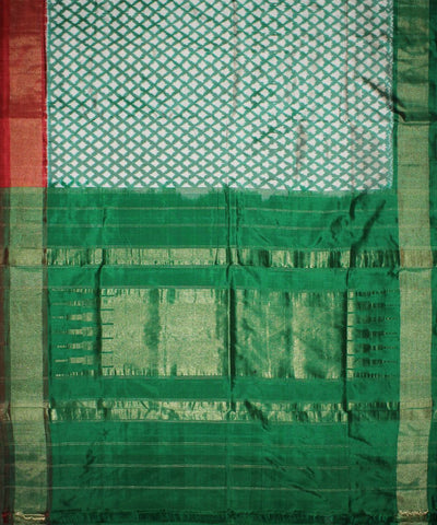 Green and White Handloom Ikat Rajkot Silk Saree