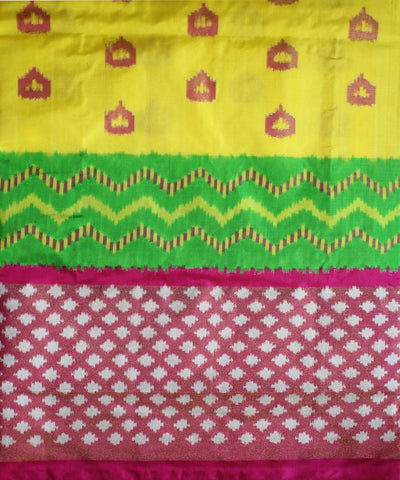Yellow and Pink Handloom Ikat Rajkot Silk Saree