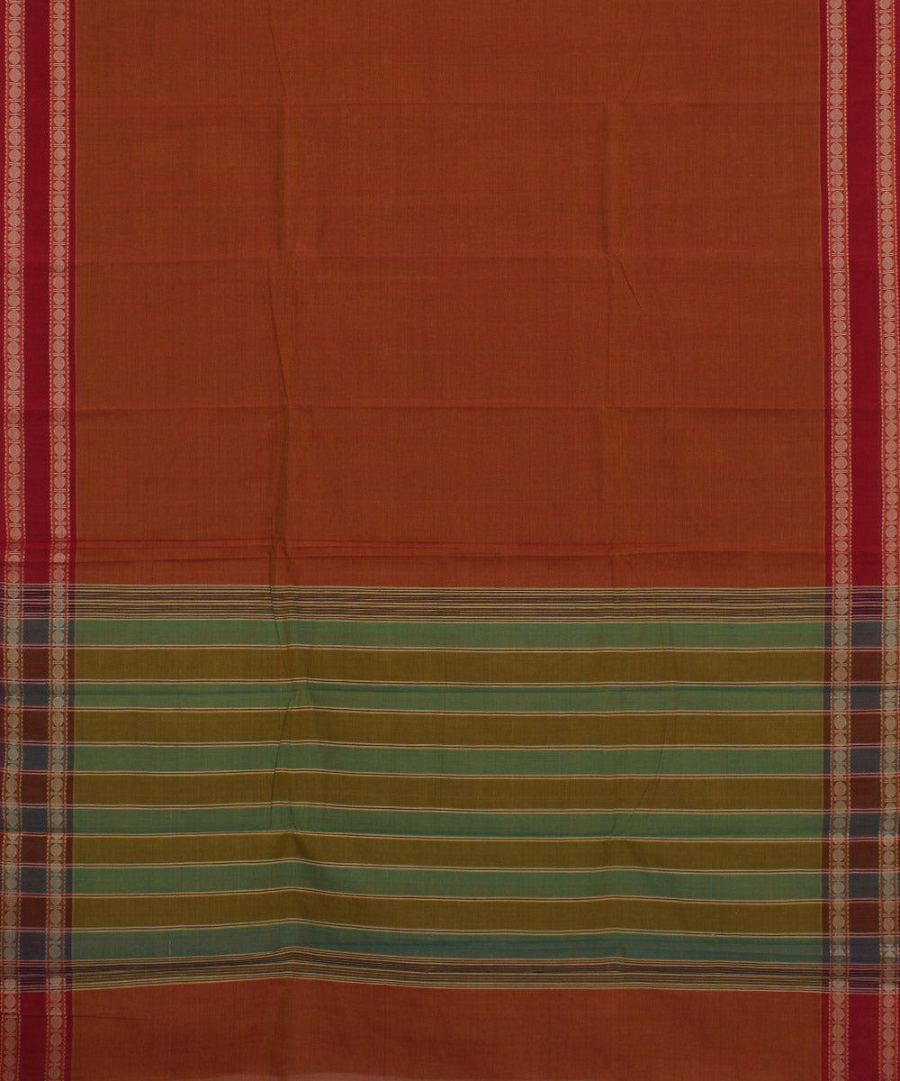 Aruppukottai Red Orange Handloom Cotton Saree