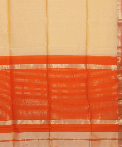 Maheshwari Cream Handwoven Sico Saree