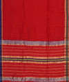 Maheshwari Red Handwoven Sico Saree