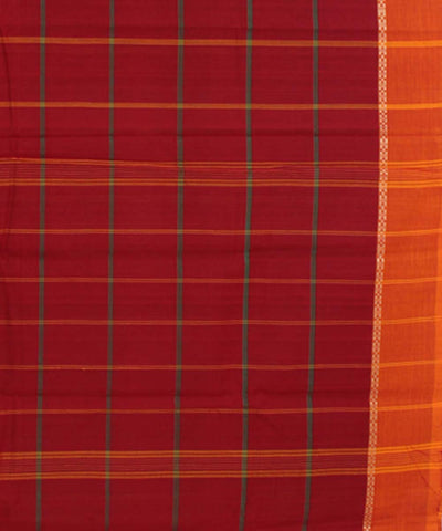 Maroon Check Handloom Cotton Chettinadu Saree