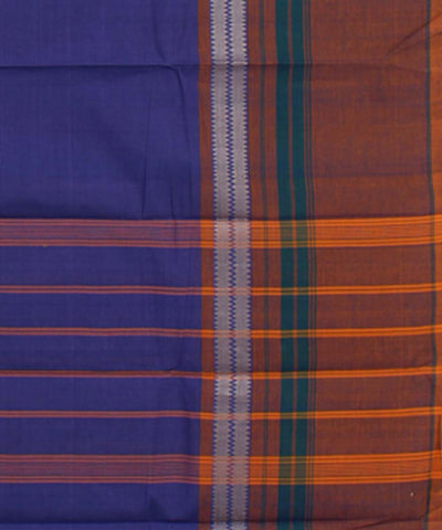 Handwoven Violet Cotton Chettinadu Saree