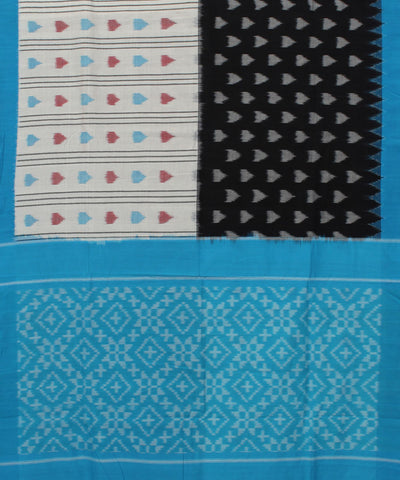 Black White Pochampally Handloom Cotton Saree