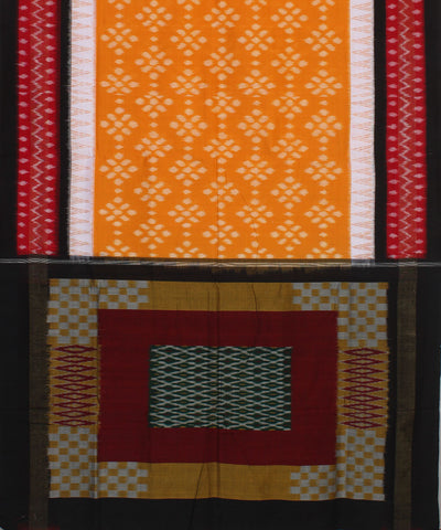 Yellow, Red, Black Pochampally Handloom Saree