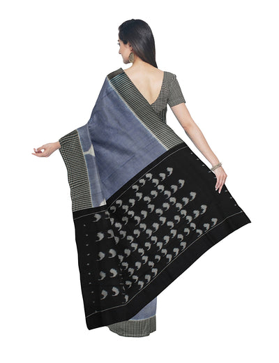 Light Blue Black Pochampally Handloom Saree