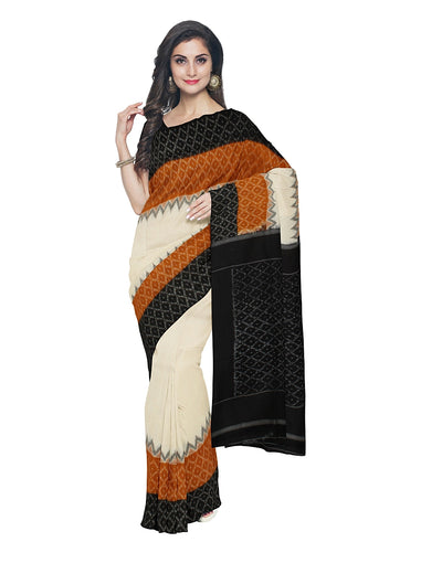 White Brown Black Pochampally Handloom Saree