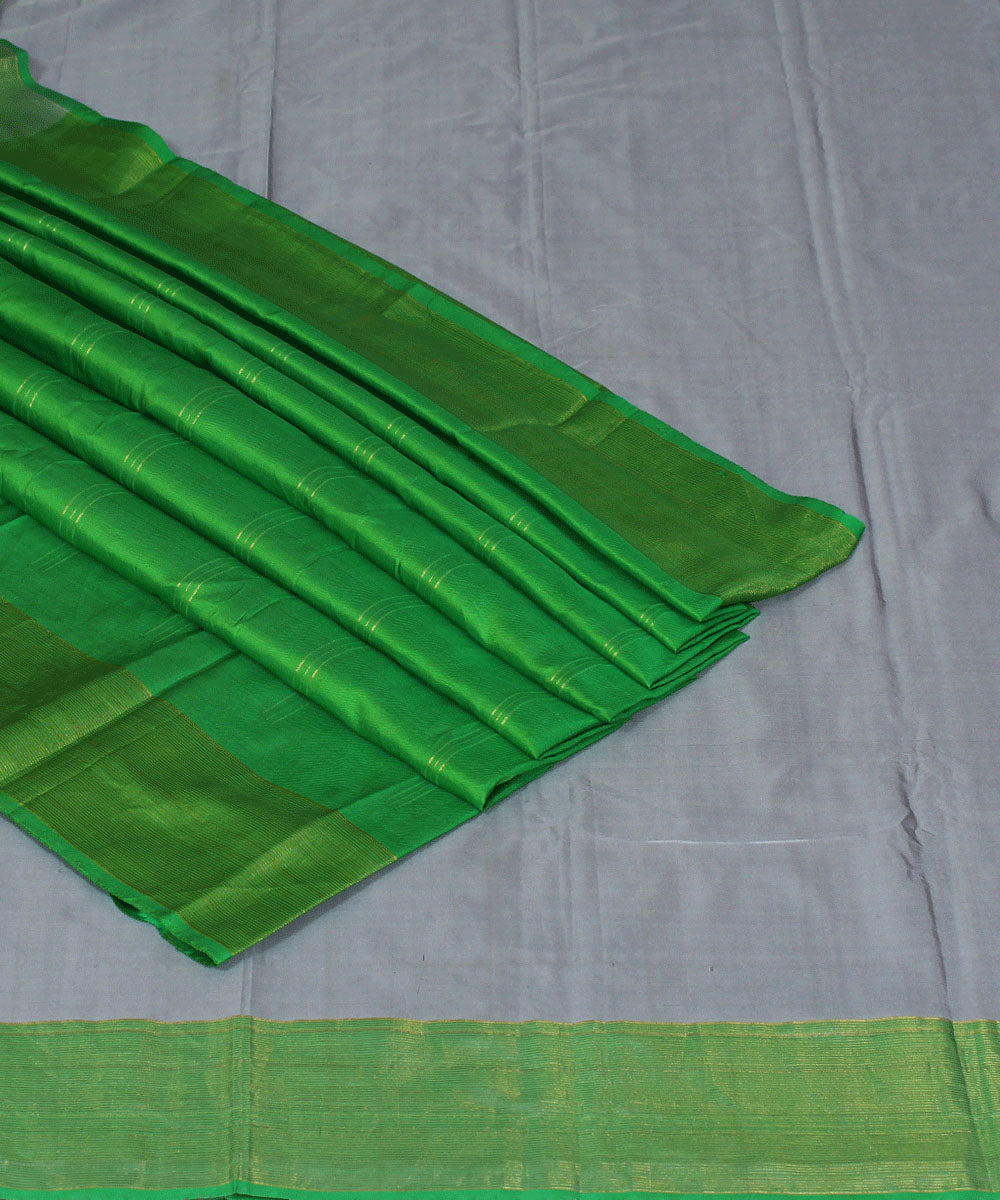 Off White and Green Handloom Arani Silk Saree