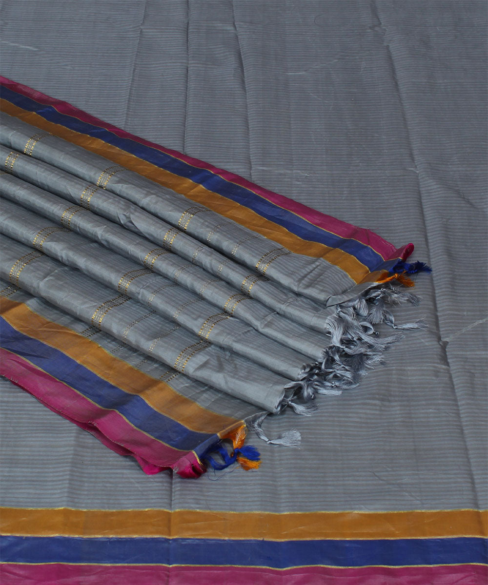 Grey Handwoven Arani Silk Saree