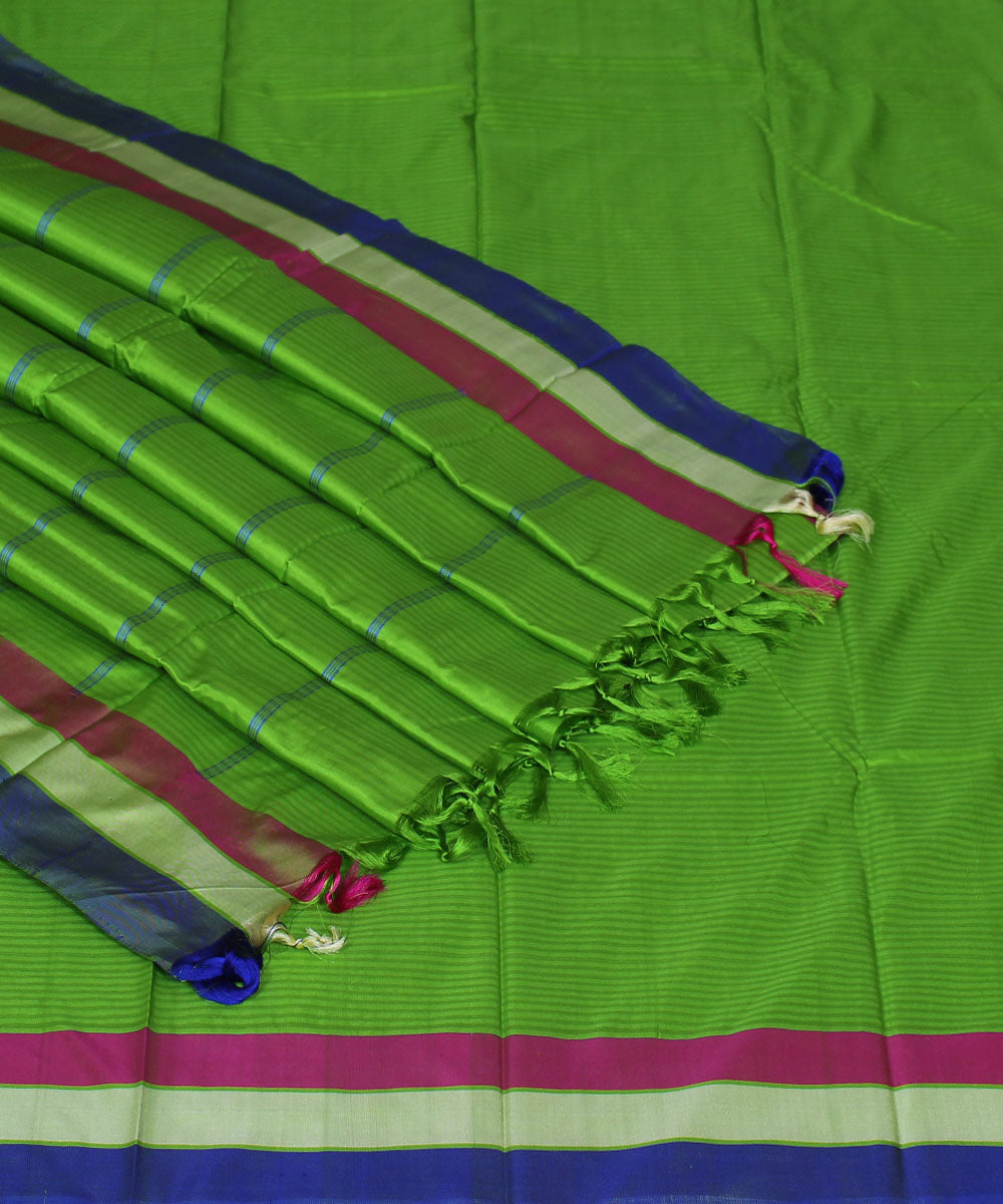 Fluorescent Green Handwoven Arani Silk Saree