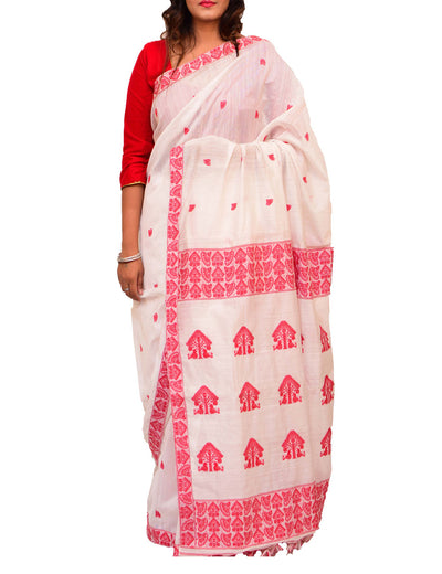 Off White and Red Handloom Assam Cotton Saree