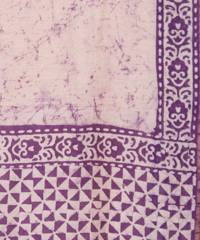 Batik Print Off White Chanderi Saree