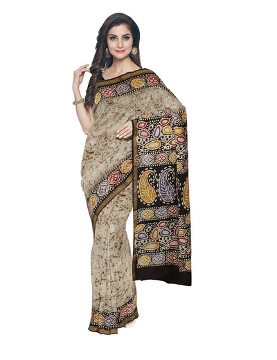 Off White Batik Hand Printed Chanderi Saree