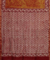 Mustard Red Batik Hand Print Chanderi Saree