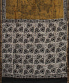Mustard Brown Batik Hand Print Chanderi Saree