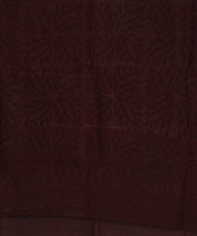 Batik Printed Red and Black Chanderi Saree