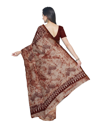 Maroon Off White Batik Printed Chanderi Saree