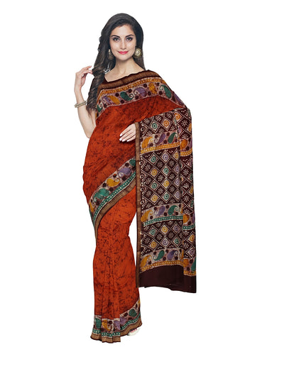Red Orange Batik Printed Chanderi Saree
