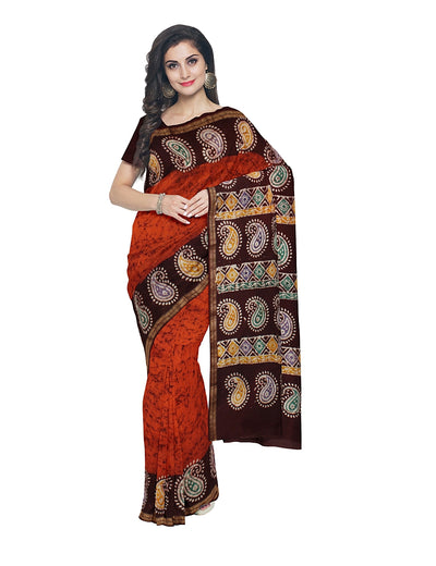 Red Orange Brown Batik Printed Chanderi Saree