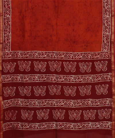 Dark Red Batik Hand Print Chanderi Saree