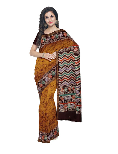 Mustard Orange Batik Printed Chanderi Saree
