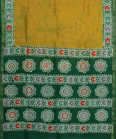 Yellow Green Batik Printed Chanderi Saree