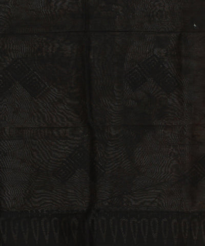 Black Batik Hand Printed Chanderi Saree