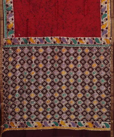 Red Brown Batik Hand Printed Chanderi Saree