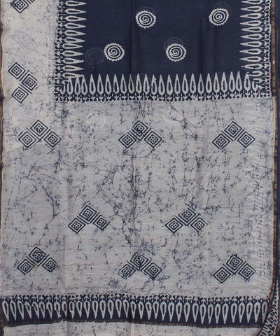 Indigo Blue Batik Hand Printed Chanderi Saree