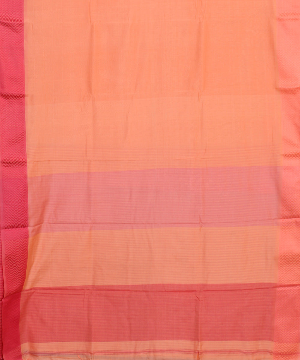 Light Orange Maheshwari Handwoven Sico Saree
