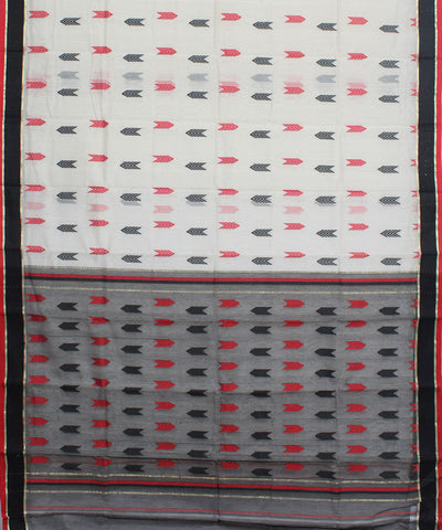 Handwoven White Grey Bengal Saree