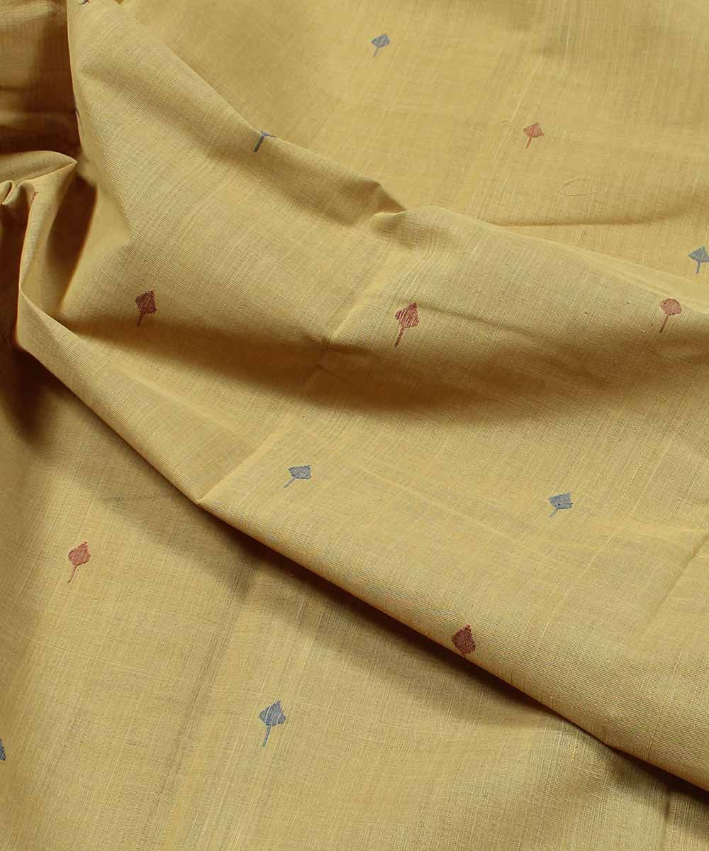 light yellow handloom natural dyed fabric